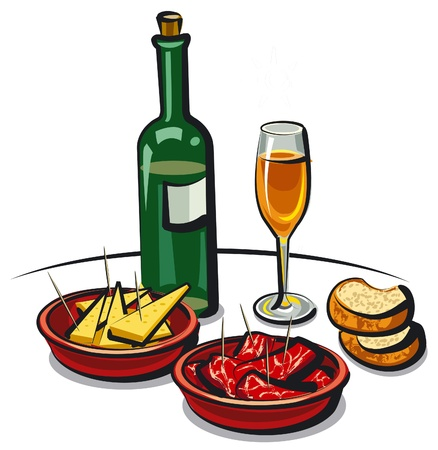spanish appetizers  cheese, ham  and wine Illustration