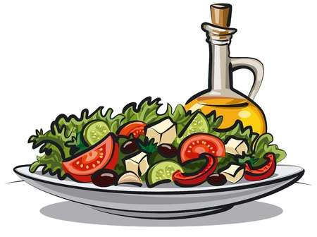 fresh vegetable salad and olive oil  Ilustração