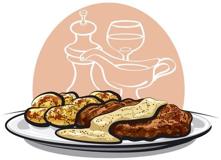 baked potatoes: baked pork