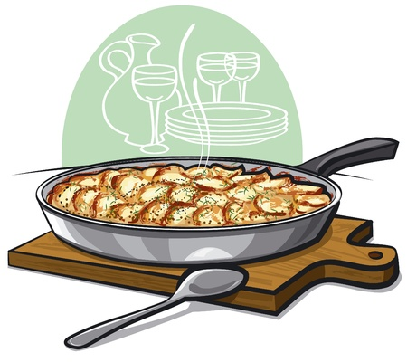 Potato gratin backed in pan  Vector