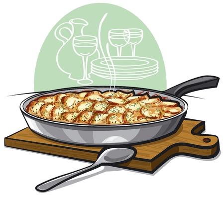 prepared potato: Potato gratin backed in pan