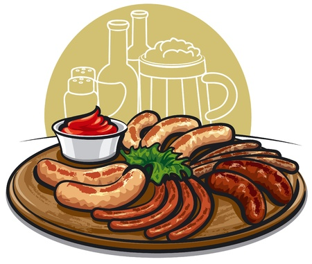 hot plate: grilled sausages with sauce  Illustration