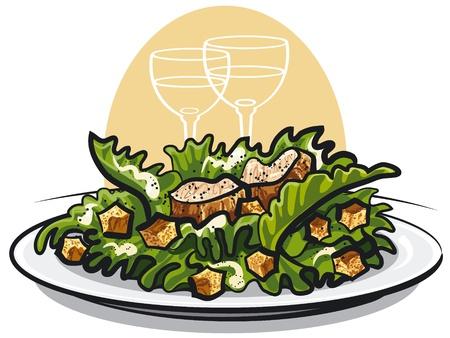 Caesar salad with chicken Illustration