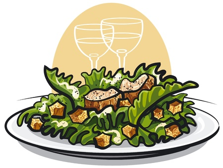 ensalada cesar: Ensalada César con pollo Vectores