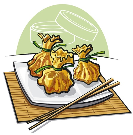 Dim sum, cuits à la vapeur boulettes chinoises Vecteurs
