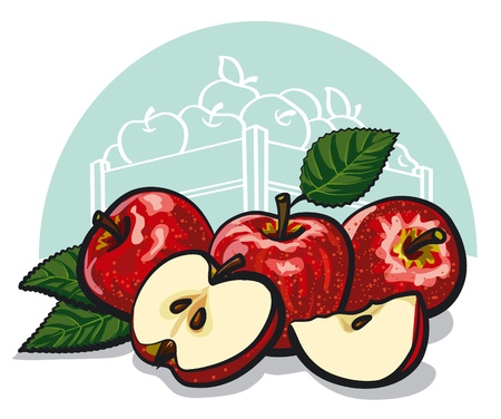 apple slice: ripe red apples