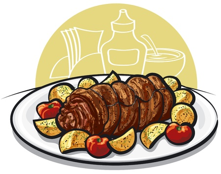 fried potatoes: Beef roulade with roasted potato and tomato