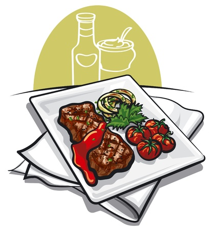 charbroiled: grilled beef steak Illustration