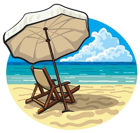 silla playa: Silla de playa y paraguas Vectores