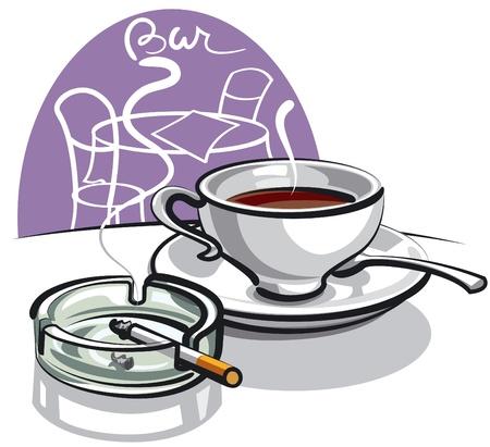 ashtray: coffee and cigarette  Illustration