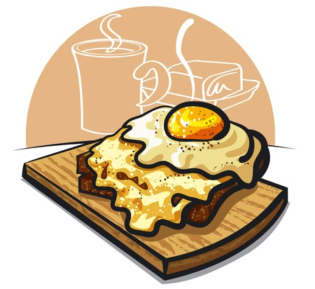 sandwiches: cheese toast with fried egg and ham Illustration