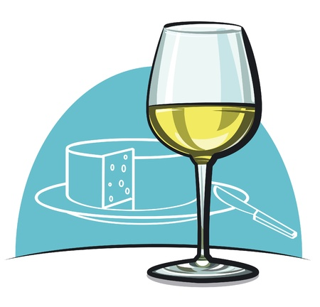 white riesling grape: Wineglass with white dry wine  Illustration