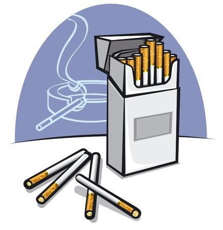 ashtray: pack of cigarettes