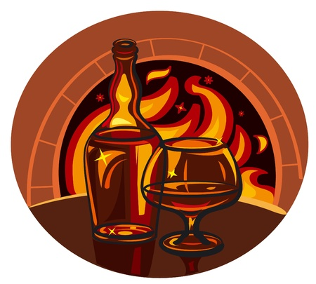 bourbon whisky: Glass of brandy and bottle on fireplace background