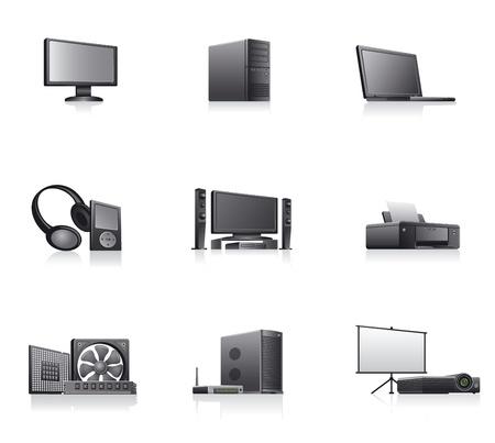 laptop repair: conjunto de ordenadores y dispositivos electr�nicos de iconos Vectores