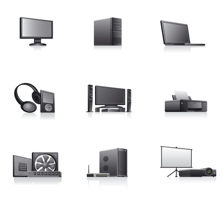 hardware store: set of computers and electronics devices  icons