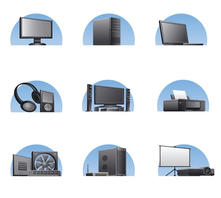 laptop repair: set of computers and electronics devices  icons