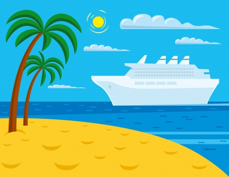caribbean cruise: passenger cruise liner near tropical beach  Illustration