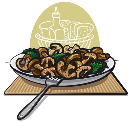 fresh fried mushrooms Stock Vector - 15732196