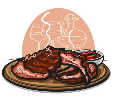 costillas de cerdo: Costillas de cerdo asadas Vectores