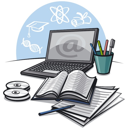 virtual assistant: internet education Illustration