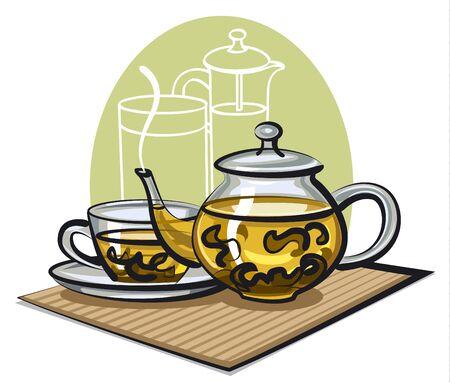 chinese tea: green tea Illustration