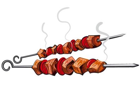 grill meat: brochette de viande grill�e