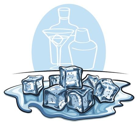 cubos de hielo: cubitos de hielo se derret�a en wate