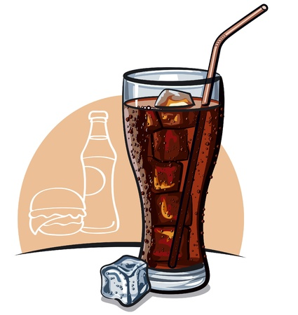 colas: Glass of cola with ice