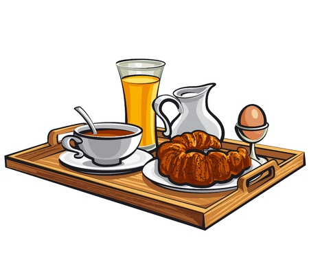 breakfast in a hotel room Vector