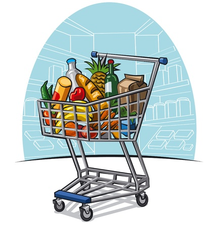 apples and oranges: shopping trolley with products