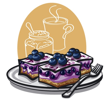whipped cream: Blueberry cakes