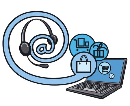 earbud: on line internet shopping Illustration