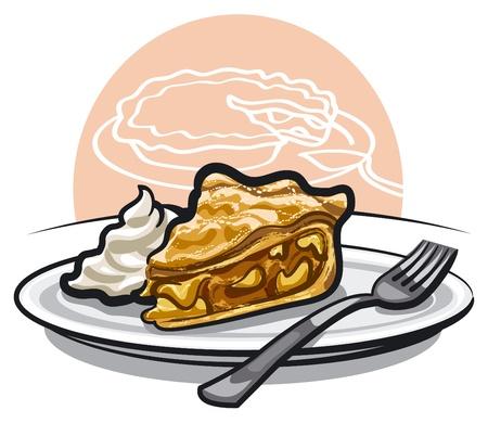 pastel de manzana: pedazo de pastel de manzana con crema agria