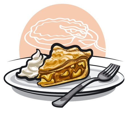 piece of apple pie with sour cream Stock Vector - 17247247