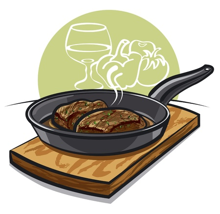 hot steak on a pan Vector