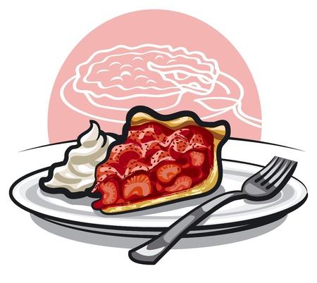tarts: piece of strawberry pie Illustration