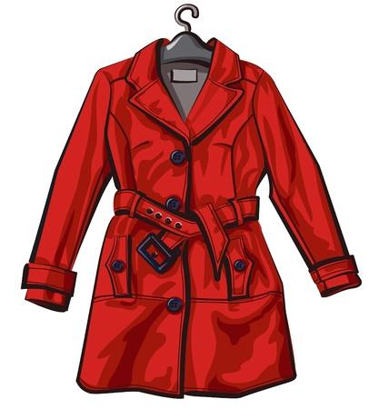 anorak: red rain coat