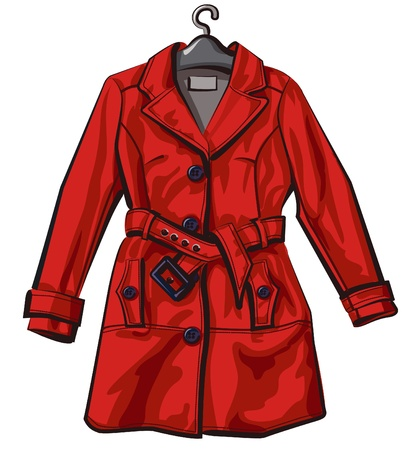 Anorak: red regen Mantel Illustration