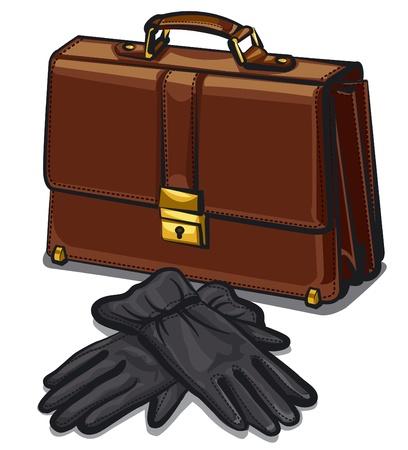 packing suitcase: Cartella in pelle e guanti