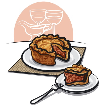 meat pie: Home Baked Pork Pie Illustration