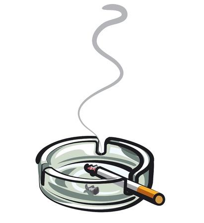 Zigarette im Aschenbecher Vektorgrafik