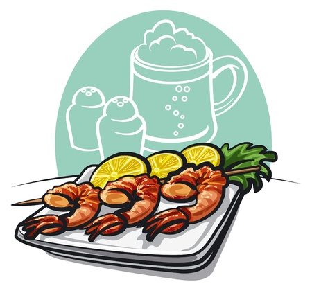 Shrimp grilled Stock Vector - 17569546