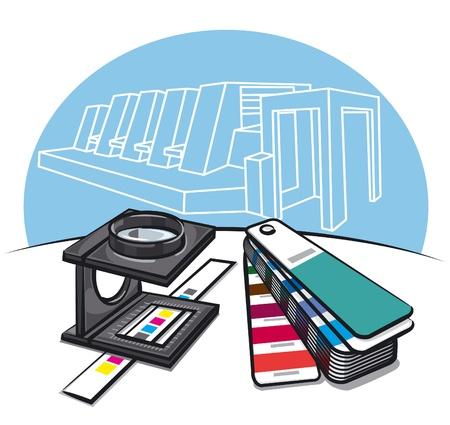 offsetdruck: Druckerei-Tools Illustration