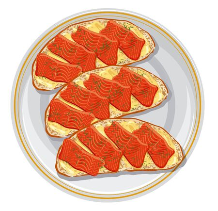 dinner plate:  sandwiches with a salmon