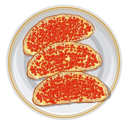 caviar: Sandwiches avec caviar rouge