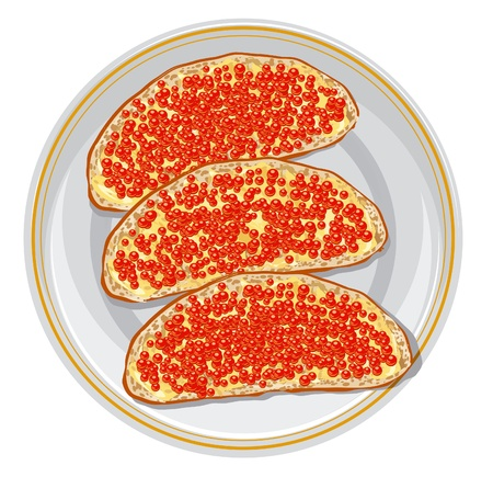 caviar: Sandwiches with red caviar