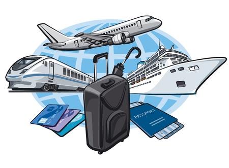 여행: 여행 개념에 transort 일러스트