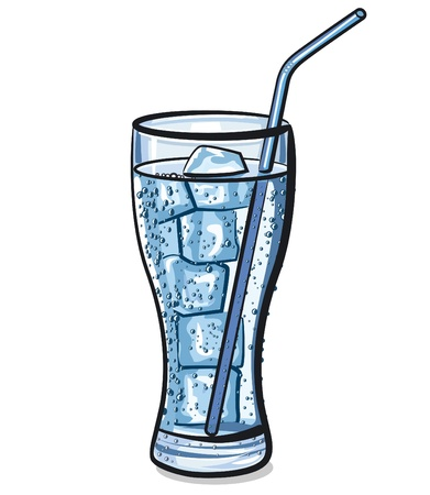 coldness: glass of fresh cool carbonated water with ice Illustration