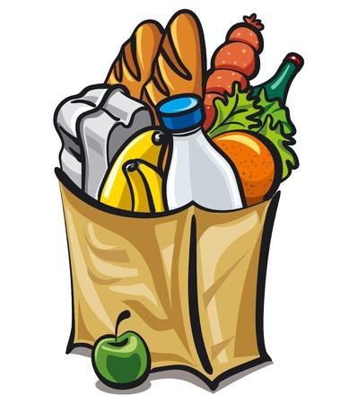 mercado: saco de papel com comida